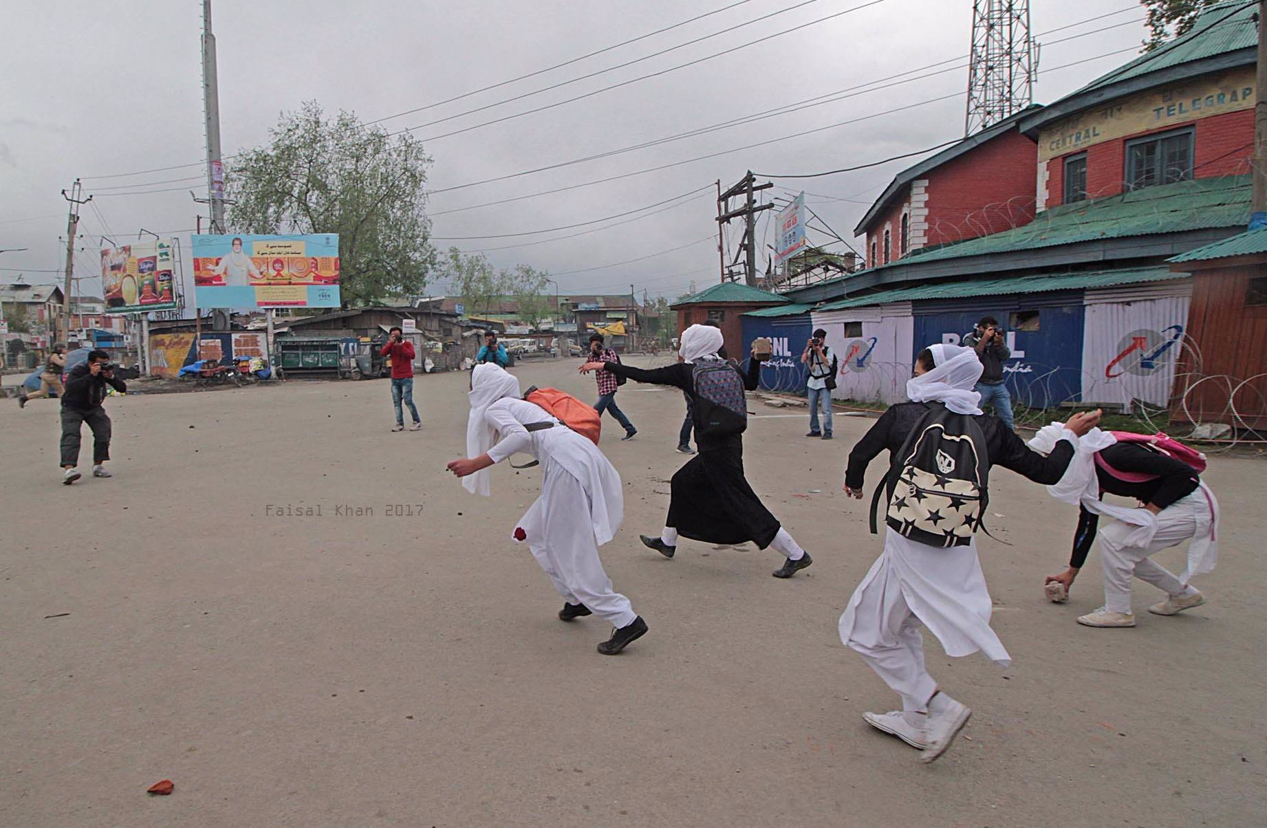 Many female students resorted to stone throwing during clashes in Srinagar the summer capital of Indian controlled Kashmir on April 24, 2017