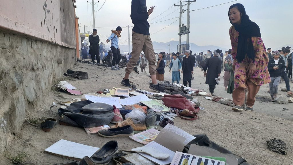 Explosions caused by a car bomb outside a school in Kabul, the capital of Afghanistan, killed at least 55 people and wounded over 150 on Saturday.